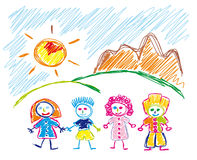 Hand Made sketch of happy children Royalty Free Stock Photos