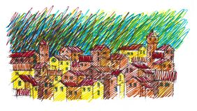 Hand made sketch which is inspired by italian and tuscany landscapes and villages vector illustration