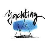 Hand made sketch of yachting and sea. Royalty Free Stock Photos