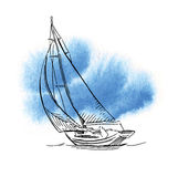 Hand made sketch of yachting and sea. Royalty Free Stock Photography