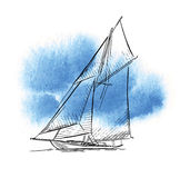 Hand made sketch of yachting and sea. Stock Photos