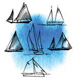 Hand made sketch of yachting and sea. Royalty Free Stock Image