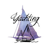 Hand made sketch of yachting and sea. Stock Images