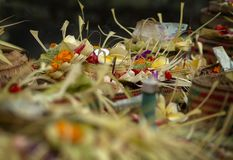 Balinese Hindu Offerings for Sale at the Public Market. Royalty Free Stock Image