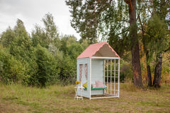 Hand made small wooden house. Wedding decoration Stock Image