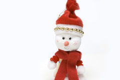 Hand made snow man in white backgrounds Stock Image