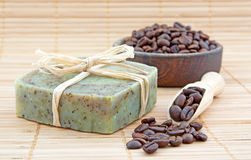 Hand-made soap with coffee stock images