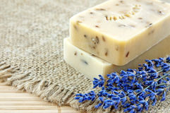 Hand-made soap with lavender Stock Photography
