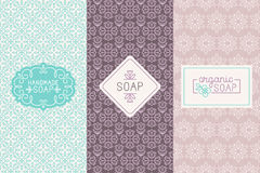 Hand made soap packaging and wrapping paper. Vector set of seamless patterns, linear labels and mono line logo design templates for hand made soap packaging and stock illustration