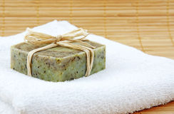 Hand-made soap on towel Royalty Free Stock Photography