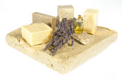 Hand made soaps with lavender Royalty Free Stock Images