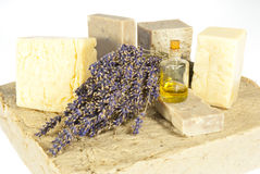 Hand made soaps with lavender and oil Stock Image