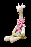 Hand made soft toy giraffe isolated in a dress sitting Stock Photos