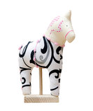 Hand made soft toy horse isolated on white with pi Stock Photography