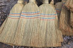 Sorghum Brooms. Hand Made Sorghum Broom Heads Brushes royalty free stock photo