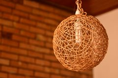 Lamp shade. Hand made Sri Lankan cane lamp shade royalty free stock photo