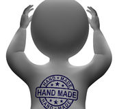 Hand Made Stamp On Man Shows Original Handmade Royalty Free Stock Images