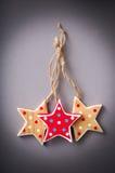 Hand made star shape christmas tree decorations Stock Photography