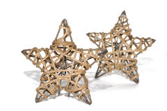 Hand made straw stars as christmas decoration Royalty Free Stock Photography
