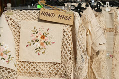 Hand made table cloths Royalty Free Stock Photo