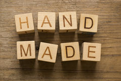 Hand made text on a wooden blocks Stock Image