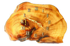 Hand made timber wall clock Stock Images