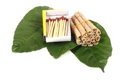 Hand-made tobacco cigarettes with matchsticks Royalty Free Stock Image