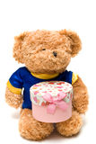 Hand-made toy bear hold a pink gift box Royalty Free Stock Photos