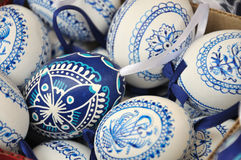 Hand-made traditional blue and white Easter eggs. There are colored and decorated eggs from Czech republic Stock Photo
