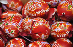 Hand-made traditional red Easter eggs. There are colored and decorated eggs from Czech republic Royalty Free Stock Photo