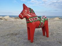 Hand-made traditional wooden Dalecarlian Horse, symbol of Sweden Royalty Free Stock Photo