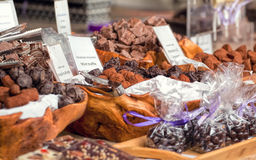 Hand made truffles and chocolates for sale. Stock Image
