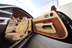 Hand made unique interior of the Rolls Royce Wraith on display during Singapore Yacht Show at One Degree 15 Marina Club. SINGAPORE - APRIL 12: Hand made unique Royalty Free Stock Photo