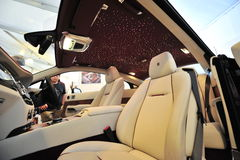 Hand made unique interior of the Rolls Royce Wraith on display during Singapore Yacht Show at One Degree 15 Marina Club. SINGAPORE - APRIL 12: Hand made unique Stock Image