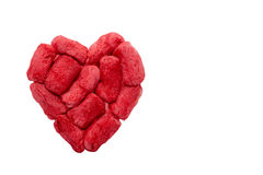 Hand Made Valentine Heart. Pieces firmly stuck to each other to make a hand made heart Royalty Free Stock Images
