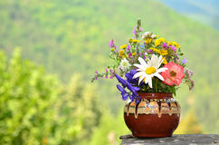 Hand made vase with forest flowers Royalty Free Stock Photo