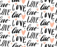 Hand made vector abstract calligraphy seamless pattern with differend handwritten love words and hearts  on Royalty Free Stock Images