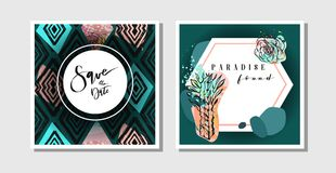 Hand made vector abstract creative collage freehand textured save the date greeting cards collection set template with Royalty Free Stock Photo