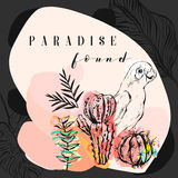 Hand made vector abstract freehand textured tropical collage illustration with parrot,cactus plants and modern Royalty Free Stock Image