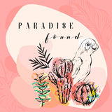 Hand made vector abstract freehand textured tropical collage illustration with parrot,cactus plants and modern Royalty Free Stock Photography