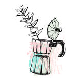 Hand made vector abstract graphic illustration with geyser coffee maker with flower brunch in pastel colors isolated on Royalty Free Stock Photos