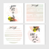 Hand made vector abstract graphic Save the Date tribal tropical exotic unusual cards set collection in pastel color Royalty Free Stock Photo