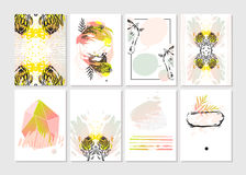 Hand made vector abstract graphic Save the Date tribal tropical exotic unusual cards set collection in pastel colors Stock Photos