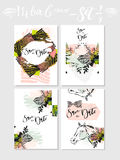 Hand made vector abstract graphic Save the Date tribal tropical exotic Valentines day cards set collection in pastel Royalty Free Stock Photo