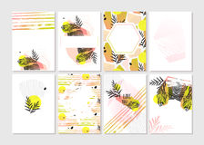 Hand made vector abstract graphic Save the Date tribal tropical exotic Valentines day cards set collection in pastel Royalty Free Stock Images
