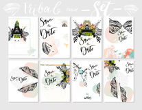 Hand made vector abstract graphic textured Save the Date tribal tropical exotic Valentines day cards set collection in Stock Photography