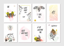 Hand made vector abstract graphic unusual tribal tropical exotic cards set collection in pastel colors isolated on white vector illustration