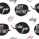 Hand made vector abstract graphic Valentines day seamless pattern with speech bubbles and handwritten modern calligraphy. Phases Happy Valentines day and I love Stock Photo
