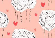 Hand made vector abstract greeting Valentines day seamless pattern vector illustration