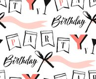 Hand made vector abstract Happy Birthday greeting collage seamless pattern with modern quote Birthday party isolated on. White background Royalty Free Stock Photography
